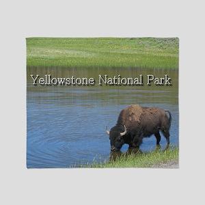 Wild American Buffalo in Yellowstone Throw Blanket