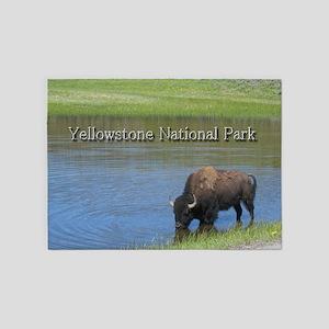 Wild American Buffalo in Yellowston 5'x7'Area Rug