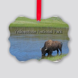 Wild American Buffalo in Yellowst Picture Ornament