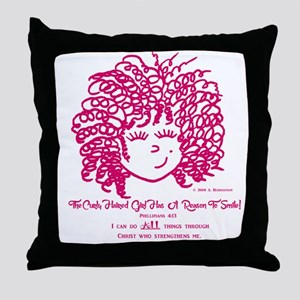 The Curly Haired Girl Can Do ALL Thin Throw Pillow