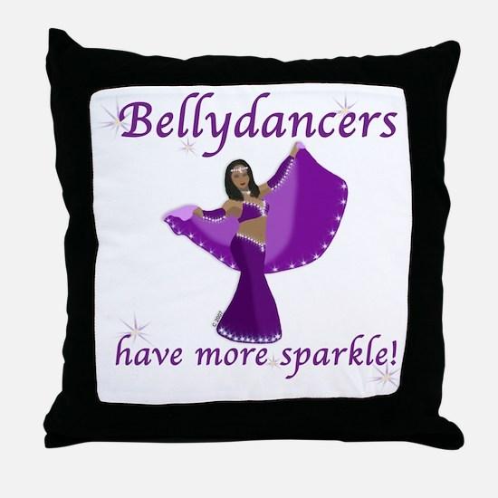 Purple Bellydancer Sparkle Throw Pillow