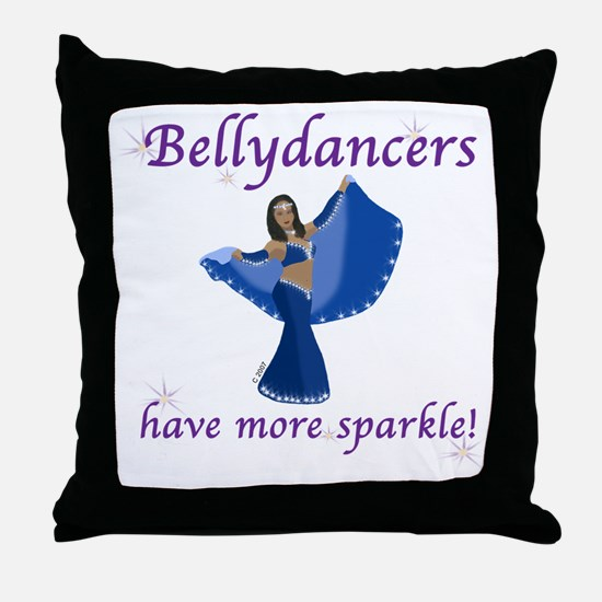 Blue Bellydancer Throw Pillow