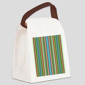 Green Ethnic Chevron Tribal Patte Canvas Lunch Bag