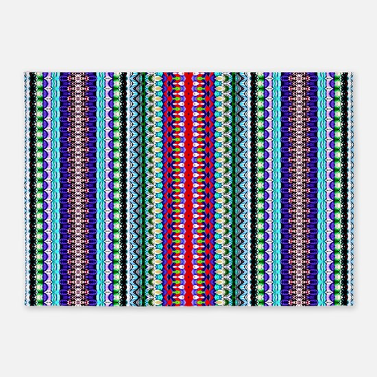 Purple Red Mint Tribal Pattern 5'x7'Area Rug