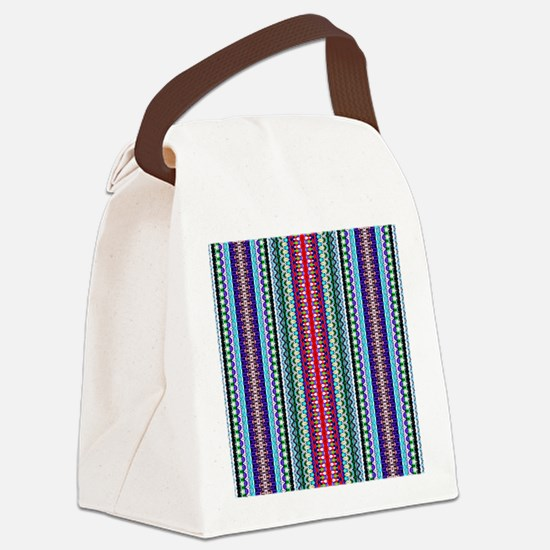 Purple Red Mint Tribal Pattern Canvas Lunch Bag