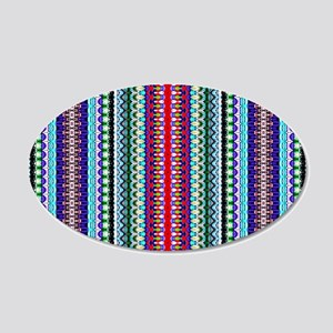 Purple Red Mint Tribal Patte 20x12 Oval Wall Decal