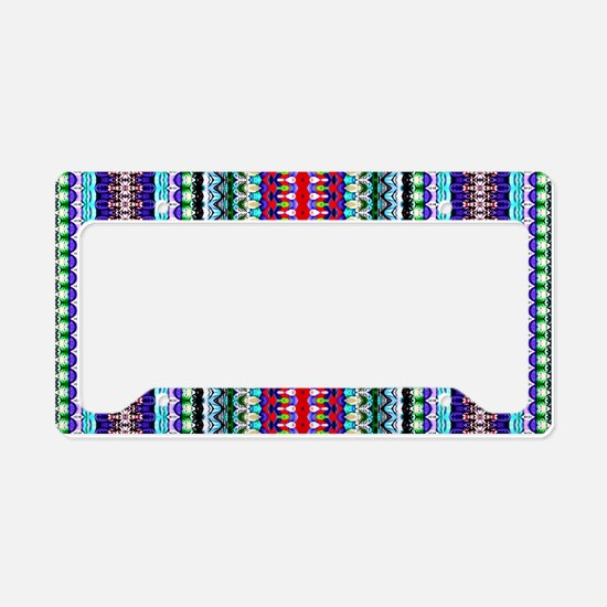 Purple Red Mint Tribal Patter License Plate Holder