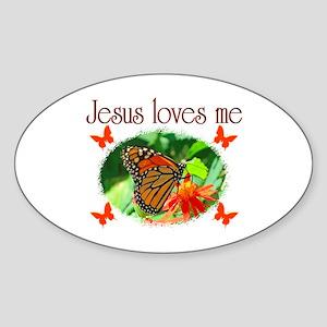 JESUS LOVES ME Sticker (Oval)