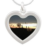 Dandelion Sunset Silver Heart Necklace