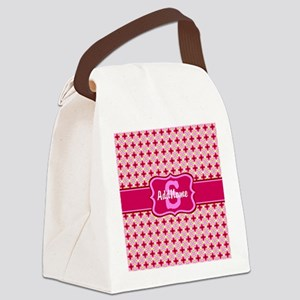 Pink Floral Tiled Pattern Monogra Canvas Lunch Bag