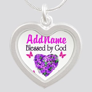 BLESSED BY GOD Silver Heart Necklace
