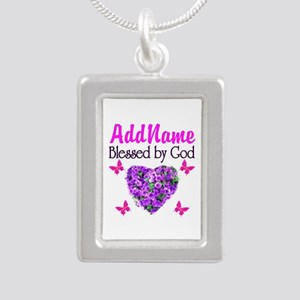 BLESSED BY GOD Silver Portrait Necklace