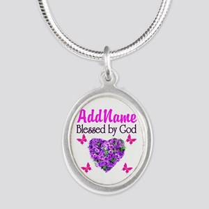 BLESSED BY GOD Silver Oval Necklace