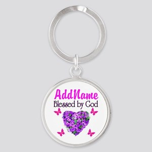 BLESSED BY GOD Round Keychain