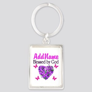 BLESSED BY GOD Portrait Keychain