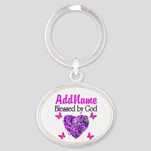 BLESSED BY GOD Oval Keychain