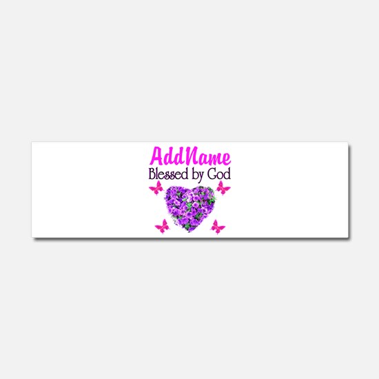 BLESSED BY GOD Car Magnet 10 x 3