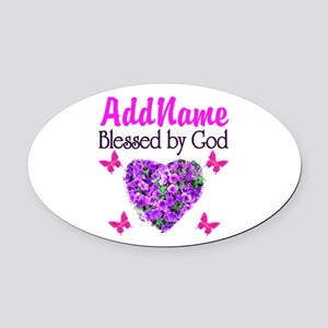 BLESSED BY GOD Oval Car Magnet