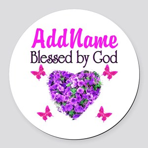 BLESSED BY GOD Round Car Magnet