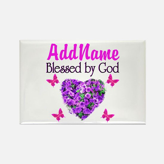 BLESSED BY GOD Rectangle Magnet