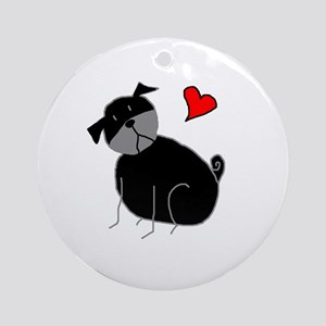 Black StickLuvPug Ornament (Round)
