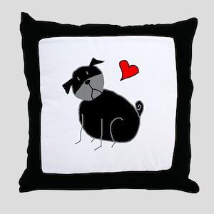 Black StickLuvPug Throw Pillow