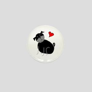 Black StickLuvPug Mini Button