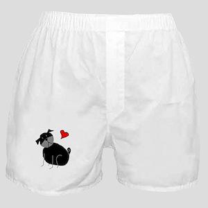Black StickLuvPug Boxer Shorts
