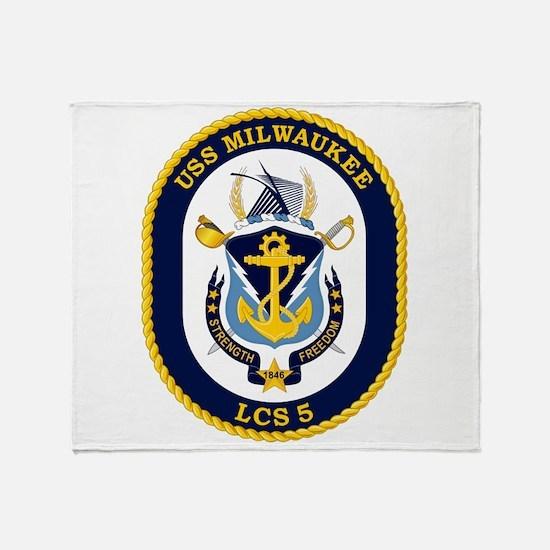 USS Milwaukee LCS-5 Throw Blanket