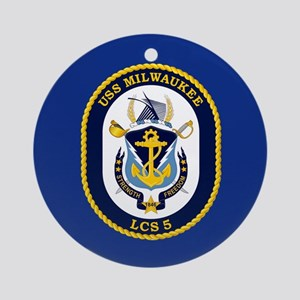USS Milwaukee LCS-5 Ornament (Round)