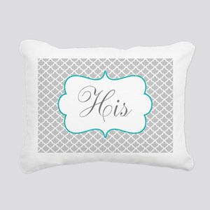 Gray Teal Quatrefoil Personalized Rectangular Canv