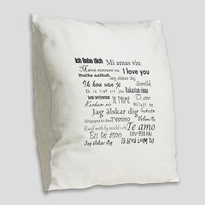 International I love you Burlap Throw Pillow