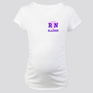 Pink and Purple personalized RN Maternity T-Shirt