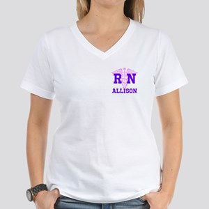 Pink and Purple personalize Women's V-Neck T-Shirt