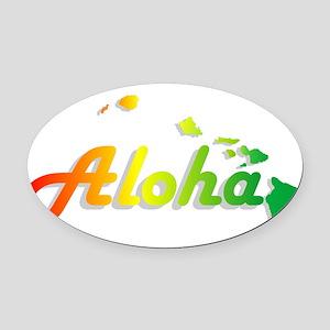 Aloha - Rasta Oval Car Magnet