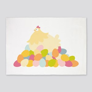 Easter Hen With Eggs 5'x7'Area Rug