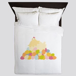 Easter Hen With Eggs Queen Duvet