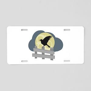 Raven On Fence Aluminum License Plate