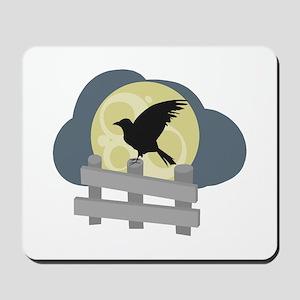 Raven On Fence Mousepad
