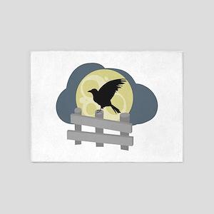 Raven On Fence 5'x7'Area Rug