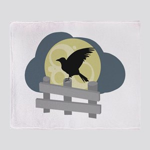 Raven On Fence Throw Blanket