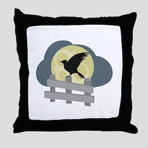 Raven On Fence Throw Pillow