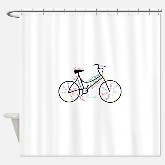 Motivational Words Bike Hobby or Sport Shower Curt