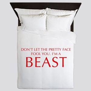 DONT-LET-THE-PRETTY-FACE-OPT-RED Queen Duvet