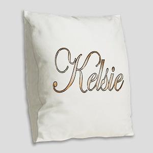 Gold Kelsie Burlap Throw Pillow