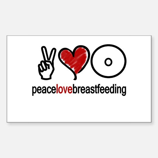 Peace, Love & Breastfeeding Rectangle Decal