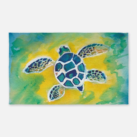 WATERCOLOR HONU DECAL 3'x5' Area Rug