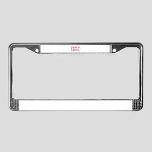 JESUS-LIFTS-BOD-RED License Plate Frame