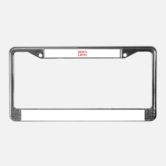 JESUS-LIFTS-BOD-RED License Plate Frame