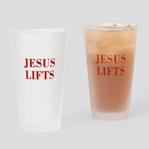 JESUS-LIFTS-BOD-RED Drinking Glass